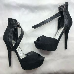 Shoes - Black suede & snakeskin pumps